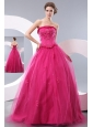 Unique Hot Pink A-line Strapless Prom Dress Tulle Beading Floor-length