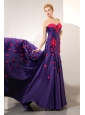 Unique Purple Column Sweetheart Prom Dress Chapel Train Elastic Woven Satin Hand Made Flowers
