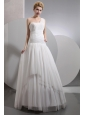 Beautiful A-line One Shoulder Wedding Dress Chiffon Ruch Floor-length