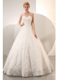 Beautiful A-line Sweetheart Beading Ball Gown Wedding Dress Floor-length Fabric With Rolling Flower
