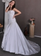 Beautiful A-line Sweetheart Chapel Train Taffeta Appliques Wedding Dress
