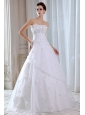 Brand New A-line Strapless Wedding Dress Appliques Floor-length Taffeta and Organza