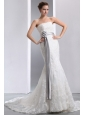 Luxurious Mermaid Strapless Sash Wedding Dress Court Train Taffeta and Lace