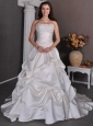 Luxurious Wedding Dress Beading and Pick-ups A-line Strapless Chapel Train Satin