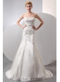 Modest Wedding Dress Mermaid Strapless Lace and Appliques Court Train Taffeta and Organza