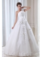 Roamntic A-line One Shoulder Wedding Dress Beading and Appliques Floor-length Tulle