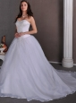 Simple A-line Sweetheart Beading Ball Gown Wedding Dress Chapel Train Satin and Organza