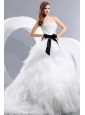 Beautiful Wedding Dress Appliques and Bow A-line Sweetheart Chapel Train Taffeta and Tulle