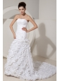 Beautiful Wedding Dress Mermaid Strapless Beading and Hand Made Flower Court Train Satin