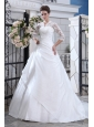 Discount Wedding Dress Ball Gown V-neck Court Train Satin Lace