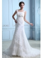 Discount Wedding Dress Mermaid Square Court Train Satin Lace