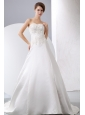 Elegant Wedding Dress A-line Appliques With Beading Sweetheart Court Train Satin