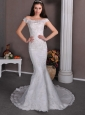 Fashionable Column Off The Shoulder Wedding Dress Brush Train Taffeta and Lace