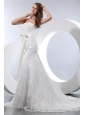 Fashionable Mermaid Wedding Dress Strapless Court Train Satin and Lace Bow