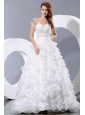 Gorgeous A-line Sweetheart Beading and Ruffles Wedding Dress Court Train Satin and Organza