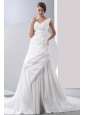 Gorgeous A-line V-neck Low Cost Wedding Dress Chapel Train Taffeta Appliques With Beading Ruch