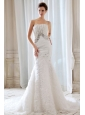 Gorgeous Wedding Dress Mermaid Strapless Beading and Appliques Court Train Special Fabric