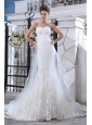 Lovely Mermaid Sweetheart Lace Wedding Dress Court Train Tulle