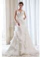 Luxurious Mermaid V-neck Beading and Appliques Wedding Dress Court Train Organza