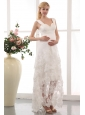 Modest Column Straps Maternity Wedding Dress Chiffon Lace Ankle-length
