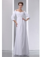 Popular Empire Off The Shoulder Beading and Ruch Maternity Wedding Dress Floor-length Chiffon