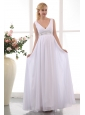 Popular Empire V-neck Maternity Wedding Dress Chiffon Beading Ankle-length