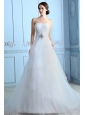 Pretty A-line Strapless Low Cost Wedding Dress Court Train Tulle Beading
