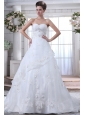 Pretty A-line Sweetheart Beading Wedding Dress Brush Train Organza