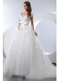 Pretty A-line V-neck Chapel Train Taffeta and Tulle Hnad Made Flowers Low Cost Wedding Dress