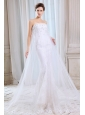 Pretty Mermaid Strapless Appliques Wedding Dress Court Train Tulle