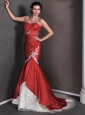 Red Mermaid Sweetheart Appliques and Ruch Wedding Dress Court Train Taffeta and Lace