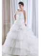 Roamntic A-line Strapless Beading and Appliques Wedding Dress Court Train Organza