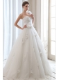 Romantic A-line One Shoulder Low Cost Wedding Dress Tulle Beading and Hand Made Flowers Floor-length