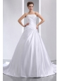 Romantic A-line Strapless Low Cost Wedding Dress Chapel Train Taffeta Appliques and Ruch
