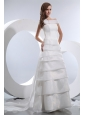 Simple A-line Off The Shoulder Low Cost Wedding Dress Chapel Train Satin and Organza Hand Made Flower and Ruffled Layers