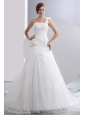 Simple A-line One Shoulder Low Cost Wedding Dress Chapel Train Taffeta and Organza Hand Made Flowers Ruch