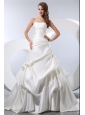 Simple A-line Strapless Low Cost Wedding Dress Chapel Train Satin and Taffeta Pick-ups