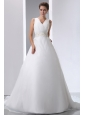 Simple A-line V-neck Court Train Low Cost Wedding Dress Satin and Organza Beading and Ruch