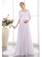 Simple Empire V-neck Maternity Wedding Dress Court Train Chiffon Ruch