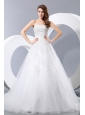 Simple Wedding Dress A-line Sweetheart Chapel Train Taffeta and Tulle