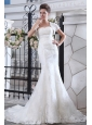Simple Wedding Dress Mermaid Belt Strapless Court Train Lace