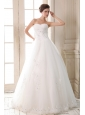 Sweet A-line Sweetheart  Beading and Appliques Wedding Dress Floor-length Tulle