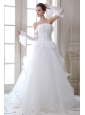 Sweet Wedding Dress A-line Strapless Beading and Appliques Floor-length Tulle