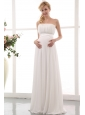 White Empire Strapless Maternity Wedding Dress Floor-length Chiffon Ruch