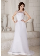 Afforable Wedding Dress Column / Sheath Scoop Brush Train Bow