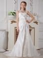 Affordable A-line Sweetheart Wedding Dress Court Train Taffeta Ruch