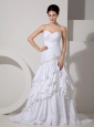 Beautiful Wedding Dress Mermaid Sweetheart Appliques and Ruch Court Train Taffeta