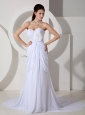 Best Wedding Dress Empire Sweetheart Appliques and Ruch Court Train Chiffon