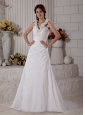 Brand New Wedding Dress A-line V-neck Ruch Brush Train Taffeta