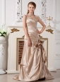 Champagne Perfect Wedding Dress Mermaid Halter Brush Train